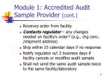 module 1 accredited audit sample provider cont