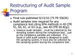 restructuring of audit sample program