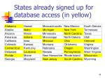 states already signed up for database access in yellow