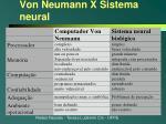 von neumann x sistema neural