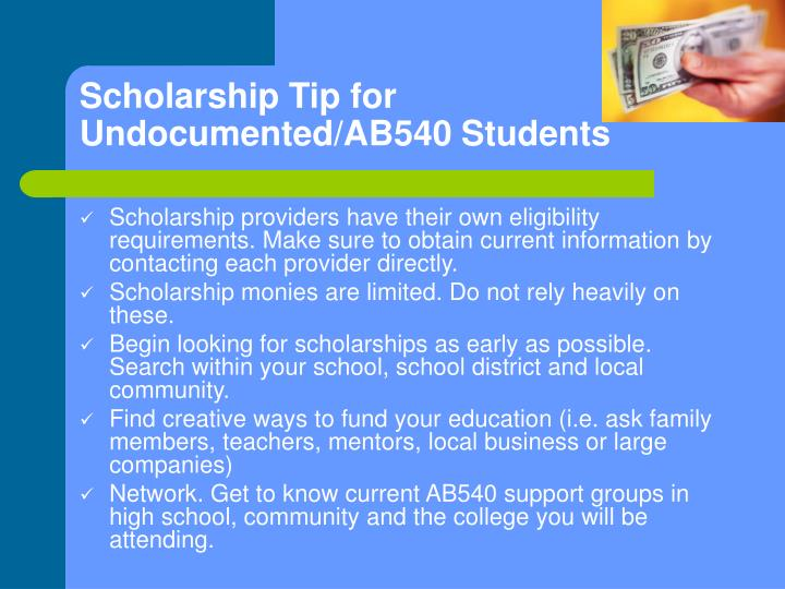 Scholarship Tip for Undocumented/AB540 Students