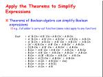 apply the theorems to simplify expressions