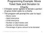 programming example movie ticket sale and donation to charity