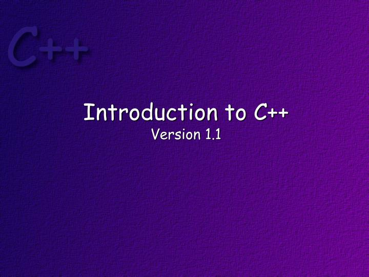 introduction to c version 1 1 n.