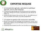 expertise requise