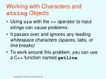 working with characters and string objects
