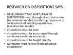 research on dispositions says