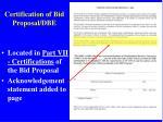 certification of bid proposal dbe