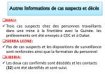 autres informations de cas suspects et d c s