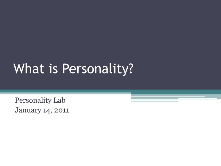 what is personality n.
