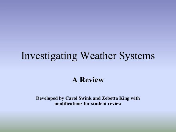 investigating weather systems n.