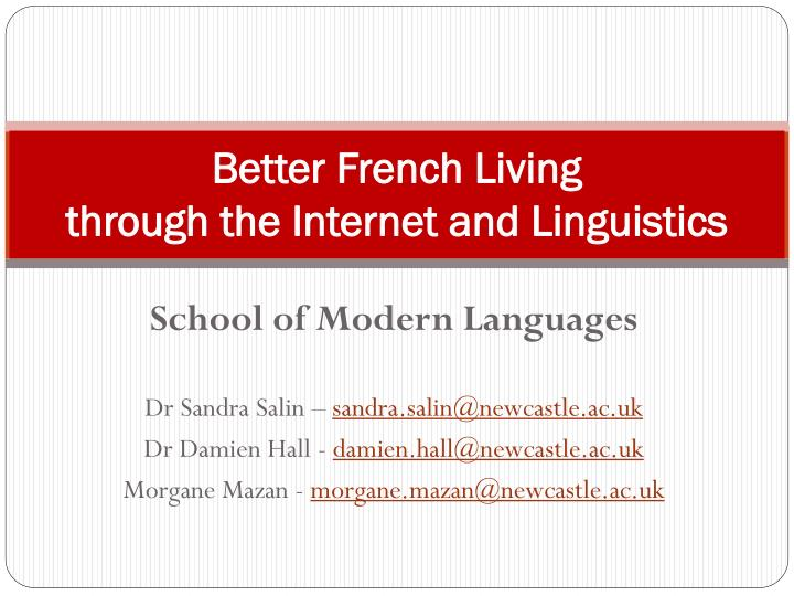 better french living through the internet and linguistics n.