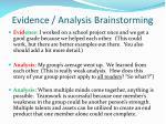 evidence analysis brainstorming