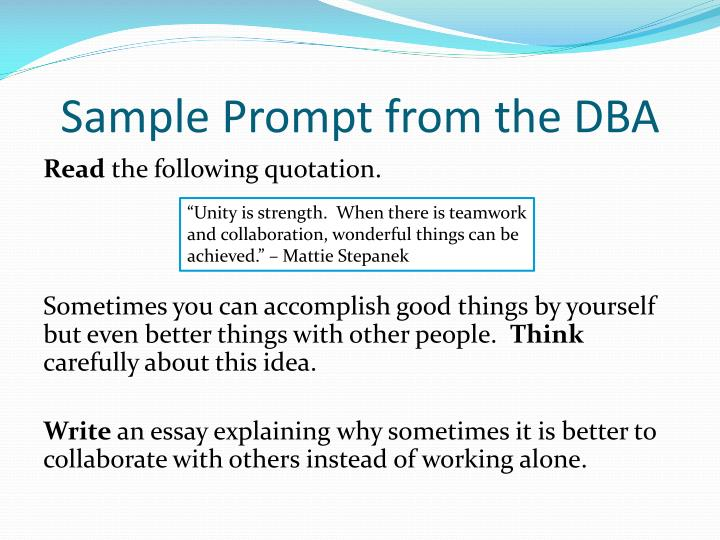 Sample Prompt from the DBA