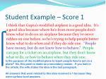 student example score 1