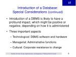 introduction of a database special considerations continued