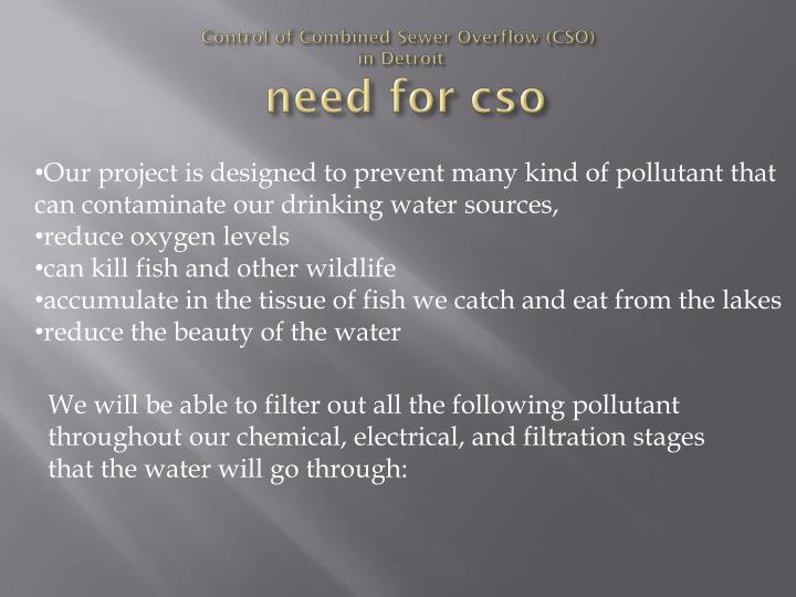control of combined sewer overflow cso in detroit need for cso n.
