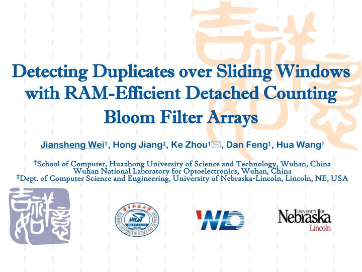 detecting duplicates over sliding windows with ram efficient detached counting bloom filter arrays n.