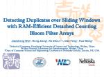 detecting duplicates over sliding windows with ram efficient detached counting bloom filter arrays