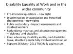 disability equality at work and in the wider community