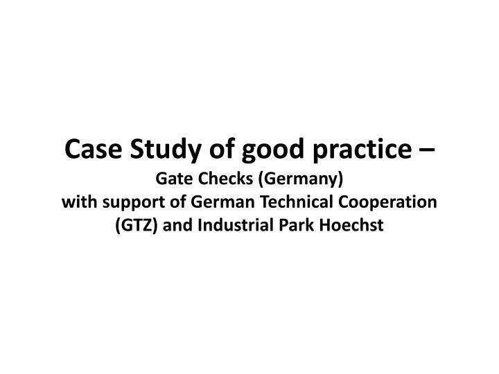Case Study of good practice –