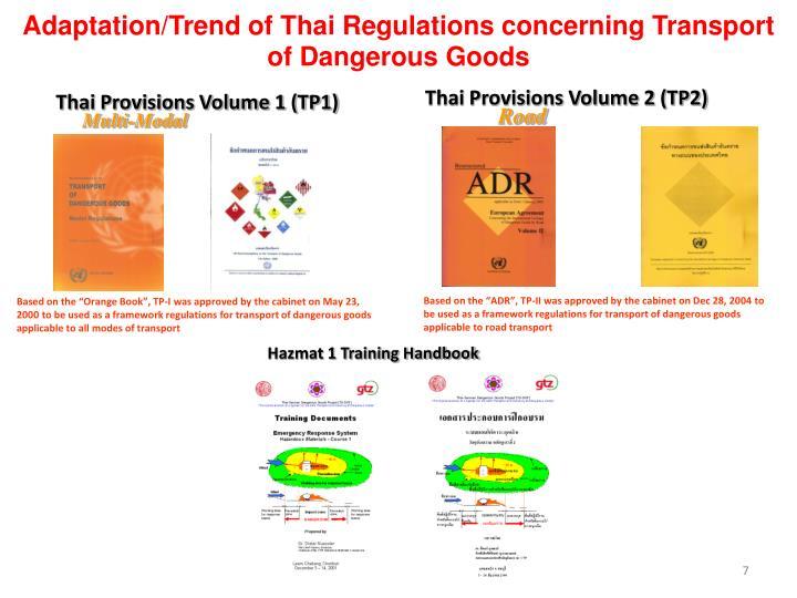 Adaptation/Trend of Thai Regulations concerning Transport of Dangerous Goods