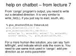 help on chatbot from lecture 7