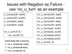 issues with negation as failure use no u turn as an example