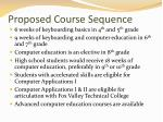 proposed course sequence