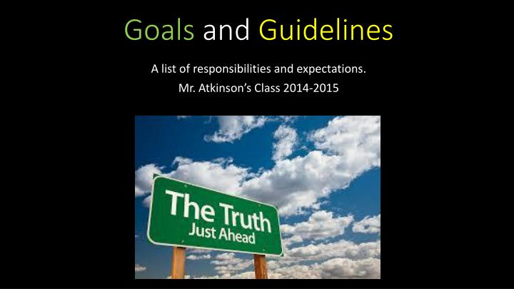goals and guidelines n.