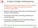 a critique of strategic marketing planning