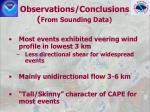 observations conclusions from sounding data