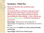 vocabulary week two