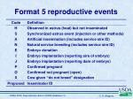 format 5 reproductive events