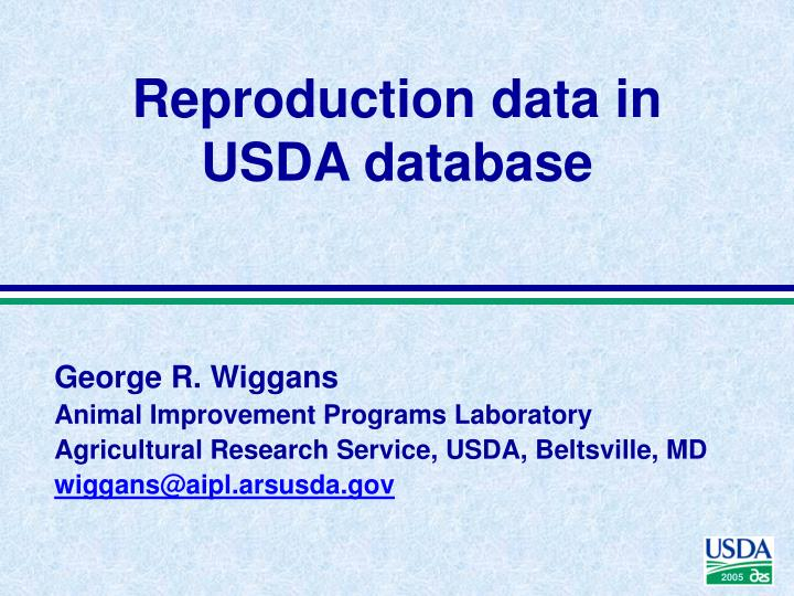 reproduction data in usda database n.