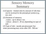 sensory memory summary
