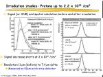 irradiation studies protons up to 2 2 x 10 15 cm 2