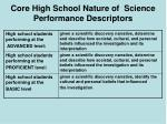 core high school nature of science performance descriptors