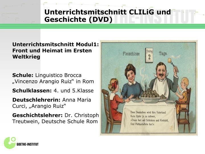 Unterrichtsmitschnitt CLILiG und Geschichte (DVD)