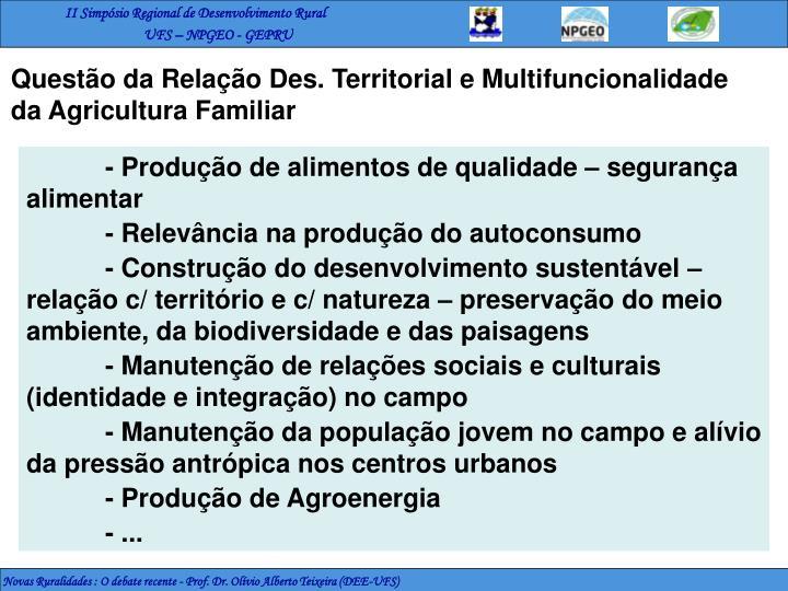 Questão da Relação Des. Territorial e Multifuncionalidade