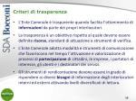 criteri di trasparenza