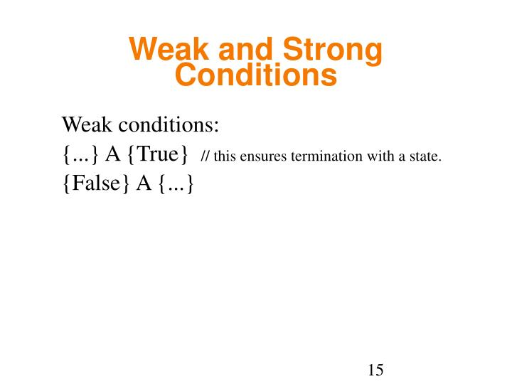 Weak and Strong Conditions