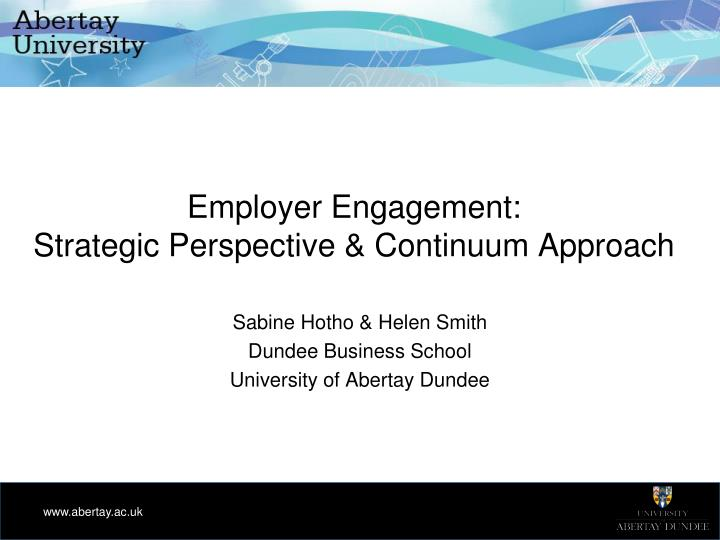 employer engagement strategic perspective continuum approach n.