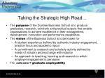 taking the strategic high road