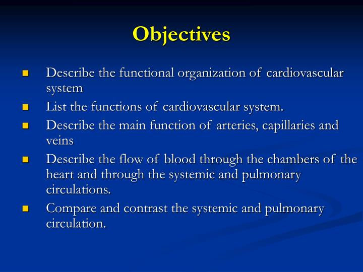 Ppt Functional Organization Of The Cardiovascular System
