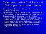 expectations what dhs track and field expects of student athletes