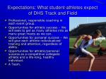expectations what student athletes expect of dhs track and field