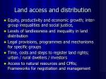 land access and distribution