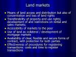 land markets