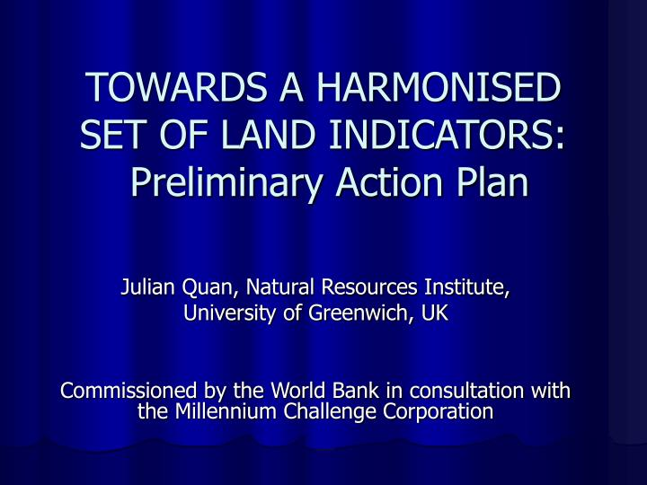 towards a harmonised set of land indicators preliminary action plan n.
